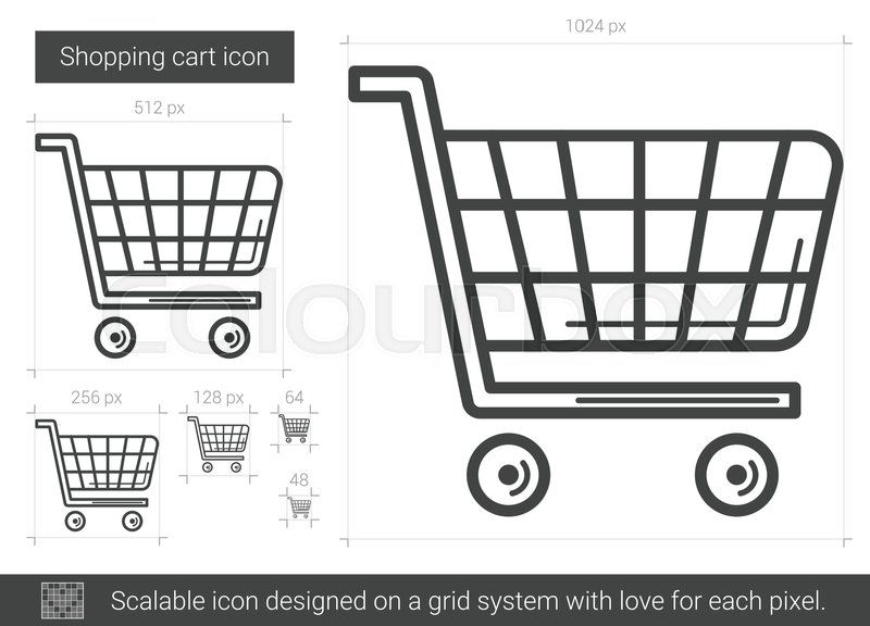 800x576 Shopping Cart Vector Line Icon Isolated On White Background