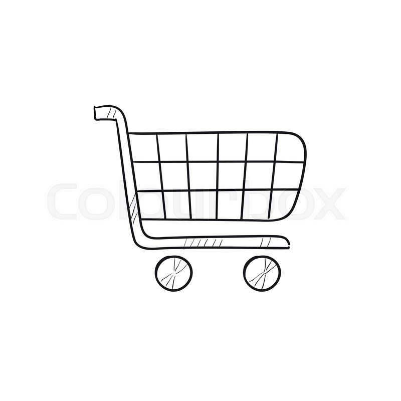 800x800 Shopping Cart Vector Sketch Icon Isolated On Background. Hand