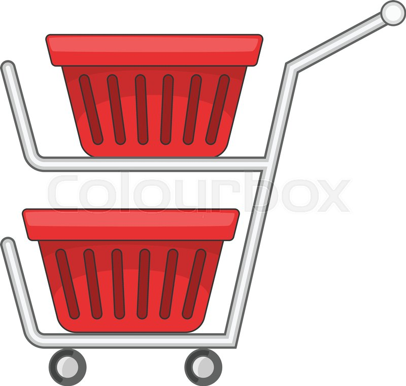 800x760 Double Shopping Cart Icon. Cartoon Illustration Of Double Shopping