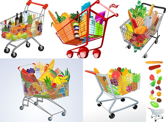 550x405 Supermarket Shopping Cart Vector Free Download