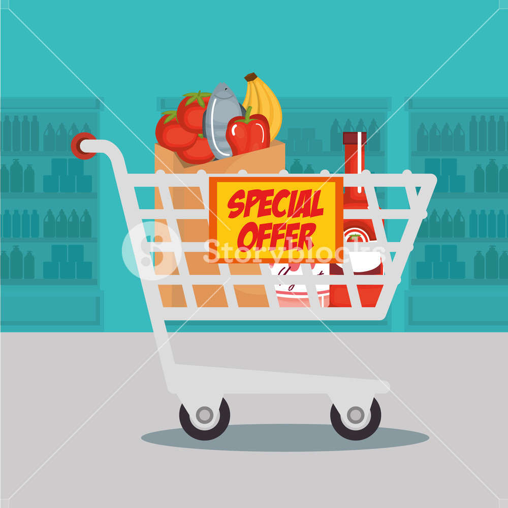 1000x1000 Supermarket Groceries In Shopping Cart Vector Illustration Design