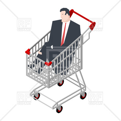 400x400 Businessman Sitting In Shopping Cart Vector Image Vector Artwork