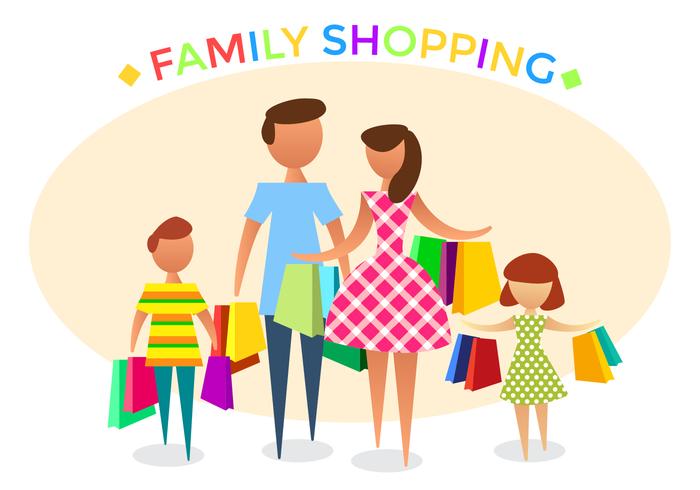 700x490 Free Family Shopping Vector