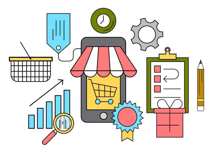 700x490 Free Online Shopping Vector Illustration