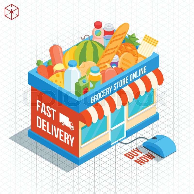 800x800 Isometric Shop Building. Online Grocery Shopping. Market Basket
