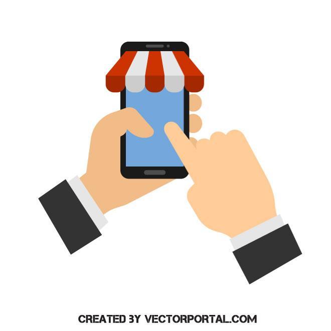 660x660 Mobile Shopping Concept Vector