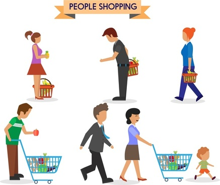 437x368 People Shopping Vector Free Vector Download (8,011 Free Vector