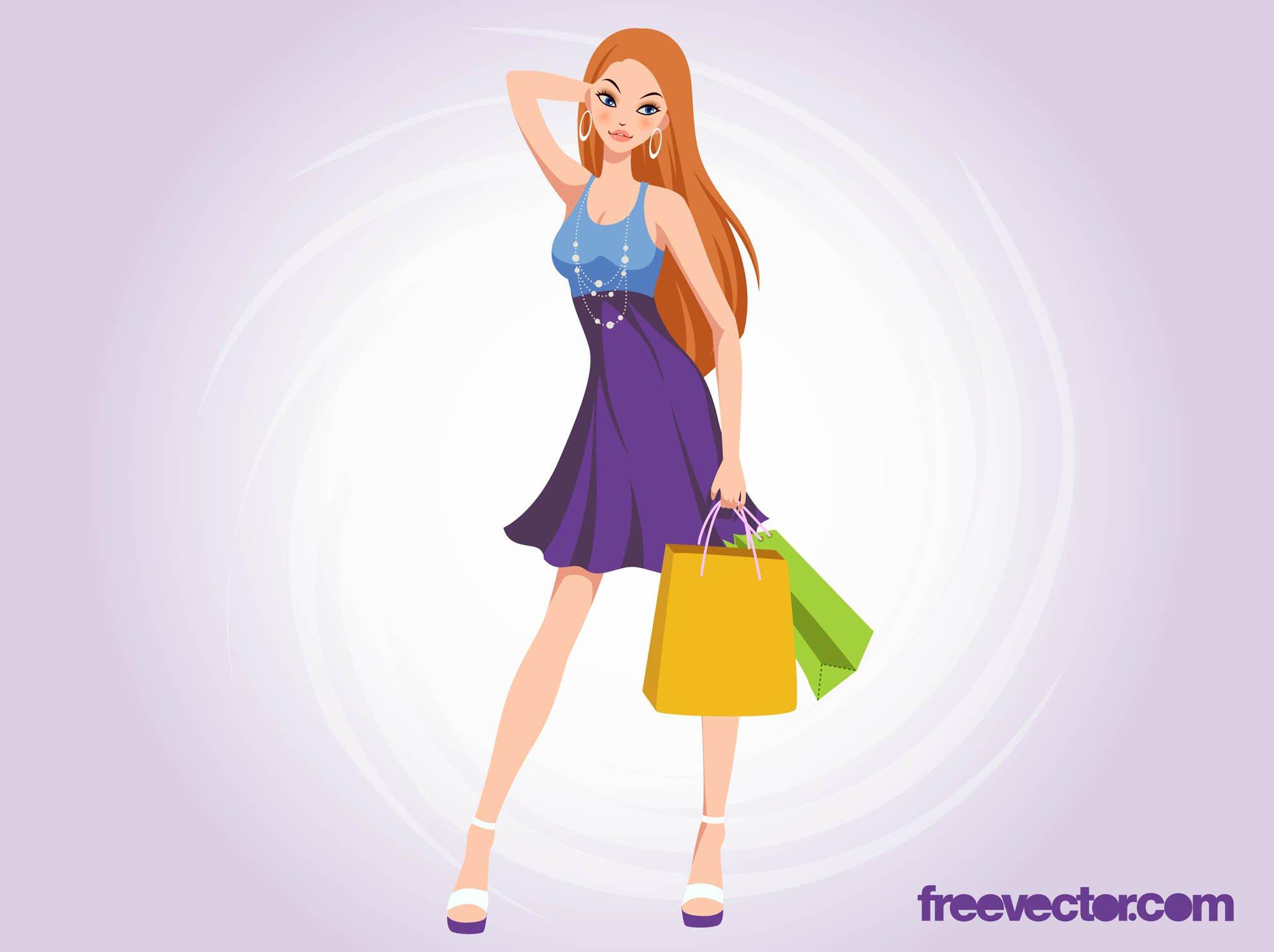 2000x1495 Shopping Girl Vector Vector Art Amp Graphics