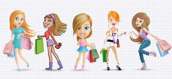 594x274 Shopping Women Vector Set