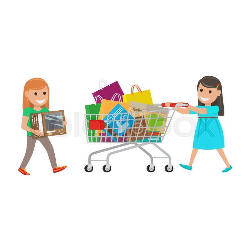 800x800 Two Girls Out On Shopping. Redhead Girl Carries Box And Brunette