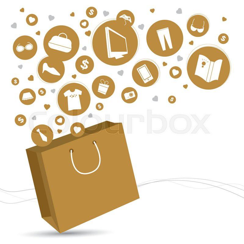 800x800 Vector Shopping Bag And Fashion Icon Design Stock Vector Colourbox