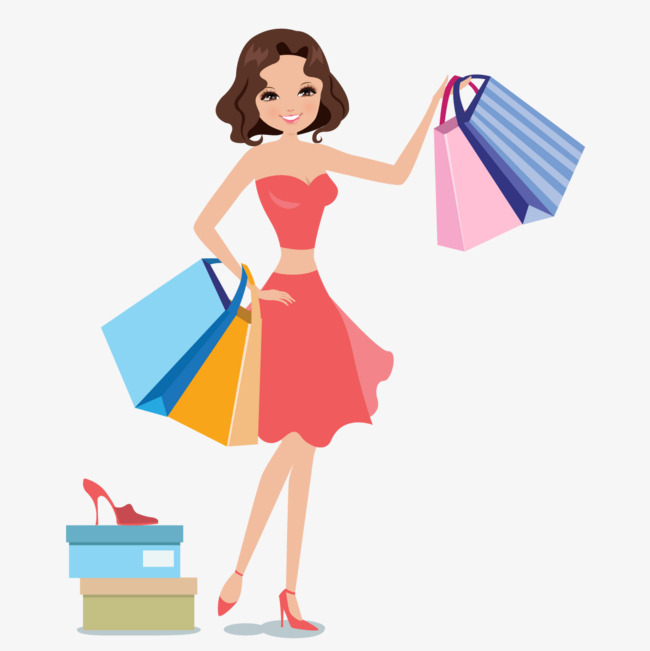 650x651 Women Shopping Vector, The Mall, Paper Bags, Try Png And Vector