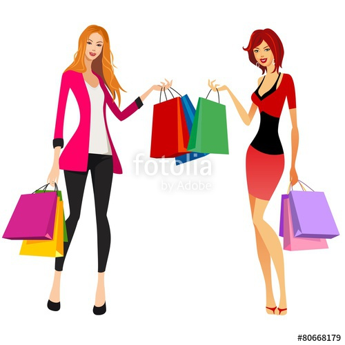500x500 Pretty Women Shopping Stock Image And Royalty Free Vector Files