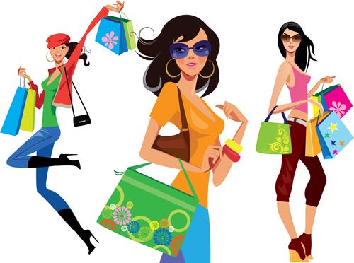 500x372 Beautiful Shopping Girls Illustration Vector 01 Free Download