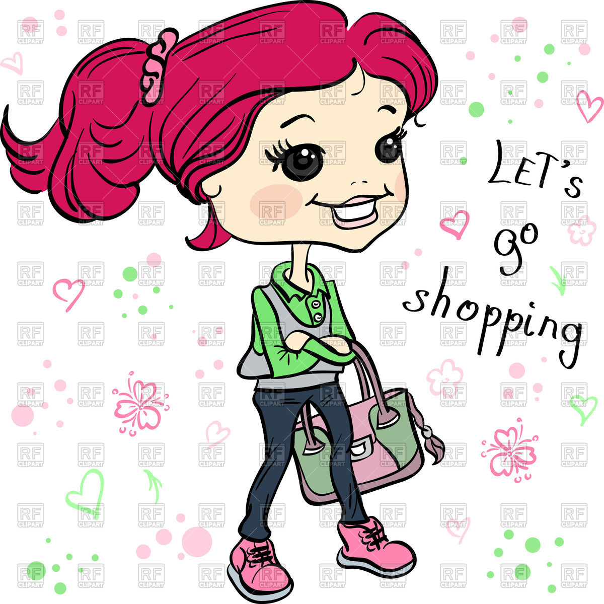 1200x1200 Cartoon Hipster Girl With Bag Going For Shopping Vector Image