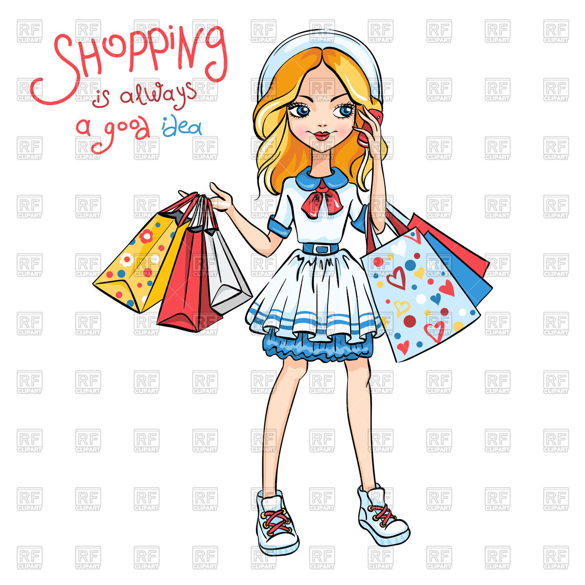 1200x1200 Cute Fashion Girl In Dress And Hat With Shopping Vector Image
