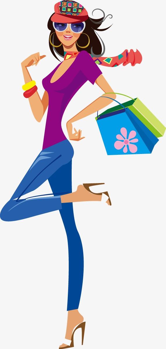 570x1197 Fashion Shopping Girl Silhouette, Fashion Vector, Shopping Vector