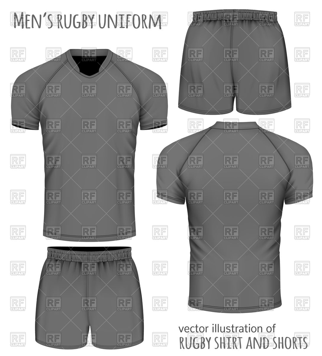 1088x1200 Rugby Uniform In Black Jersey And Shorts Vector Image Vector
