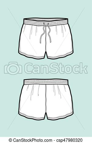 302x470 Shorts. Vector Illustration Of Shorts. Front And Back.