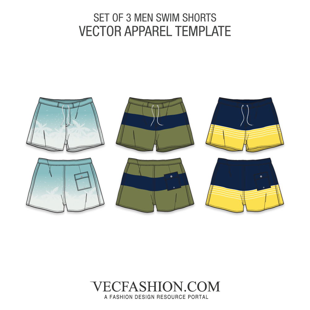 1000x1000 Swim Shorts Vector Template In 3 Colorways