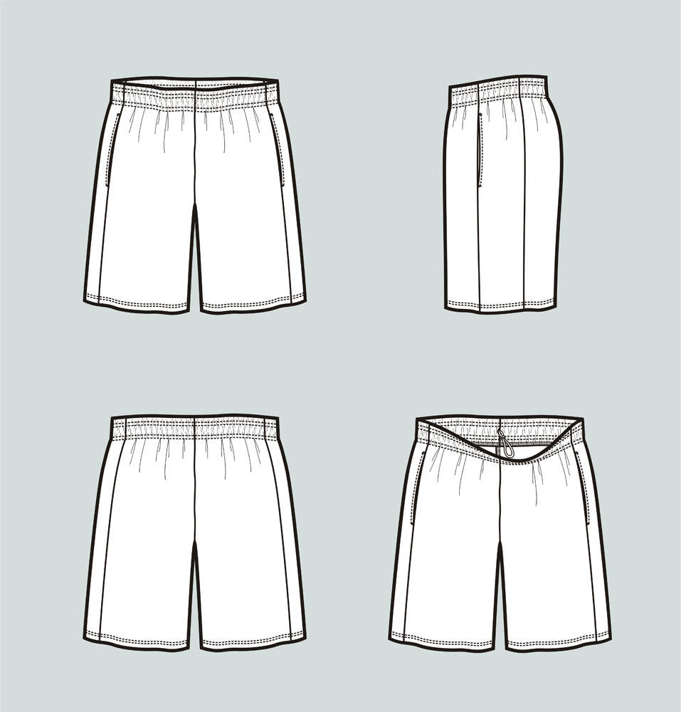 957x1000 Basketball Shorts Vector Fashion Flat Sketch Adobe Etsy