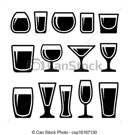 450x470 Set Of Drink Glasses Icons. Set Of Different 14 Drink Glasses Icons.
