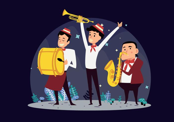 700x490 Marching Band Show Cartoon Vector Illustration Stock Images