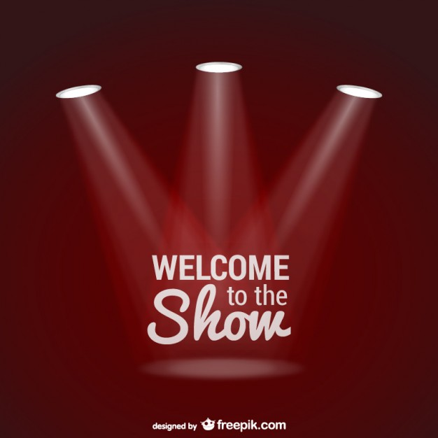 626x626 Welcome To The Show Background With Spotlights Vector Free Download