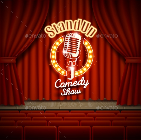 590x584 Comedy Show Theater Scene With Red Curtains Vector By Siberianart