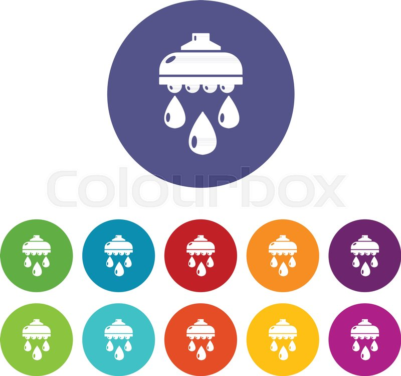 800x749 Shower Head Icons Color Set Vector For Any Web Design On White