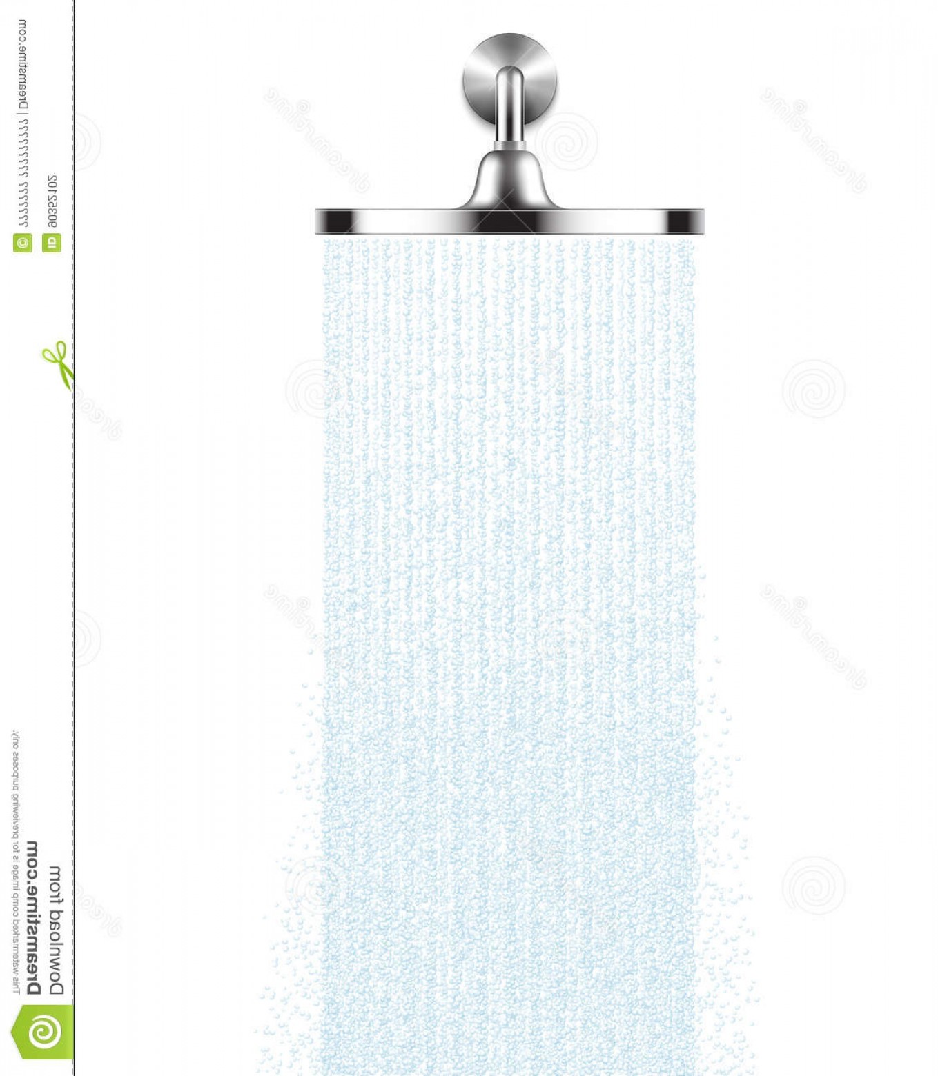 1359x1560 Stock Illustration Vector Rain Shower Head Water Drops Flowing