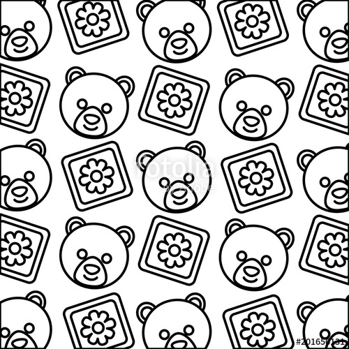 500x500 Baby Shower Head Bear Teddy And Blocks Decoration Pattern Vector
