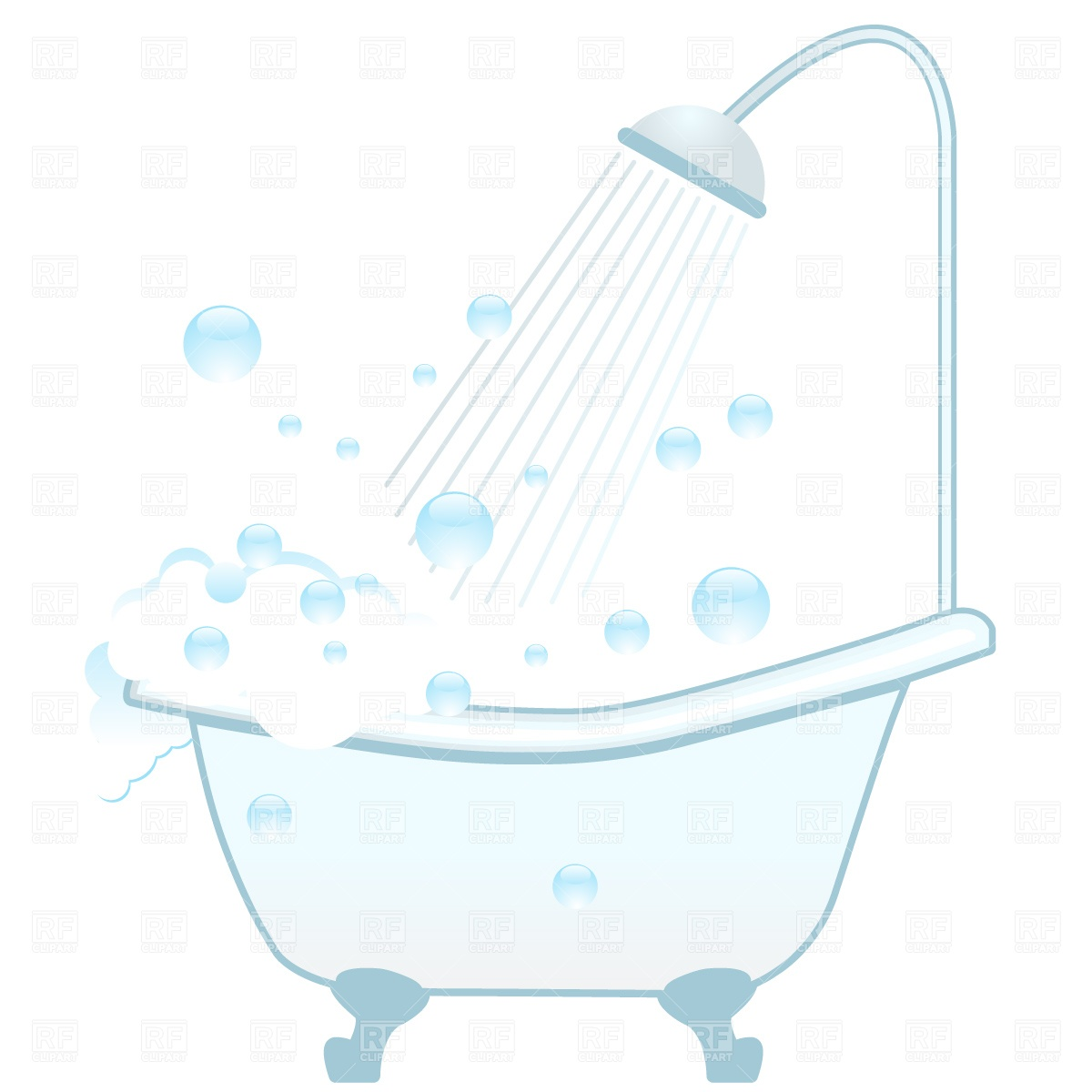 1200x1200 Bathtub, Shower And Foam Vector Image Vector Artwork Of Objects