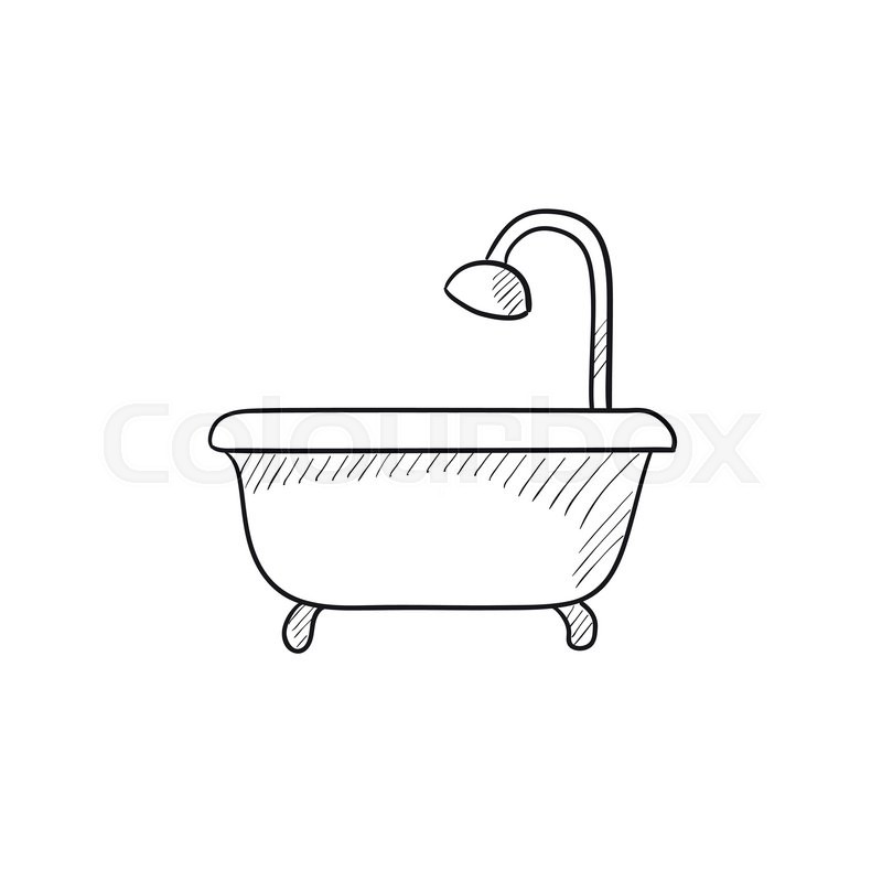 800x800 Bathtub With Shower Vector Sketch Icon Isolated On Background