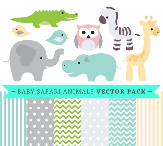 570x511 Premium Baby Shower Vector Clipart Baby Safari Animals Etsy