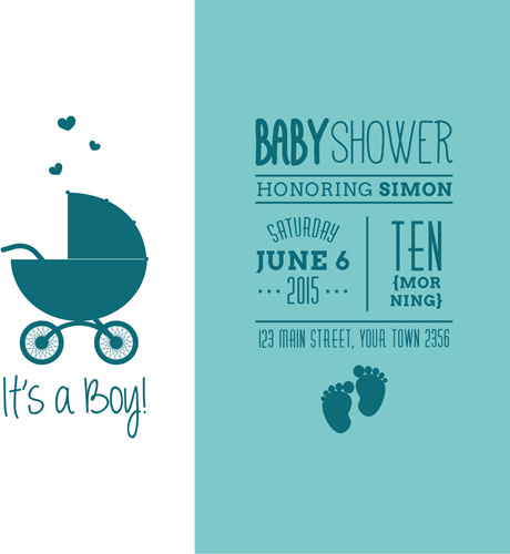 460x500 Retro Baby Shower Cards Vector Free Vector In Encapsulated