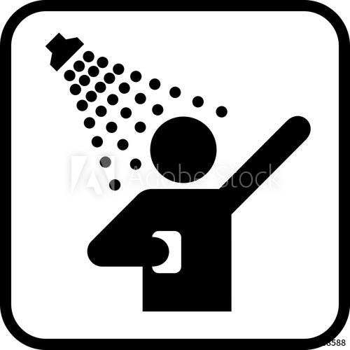 500x500 Shower Icon. Man Taking Shower. Vector Shower Web Icon.