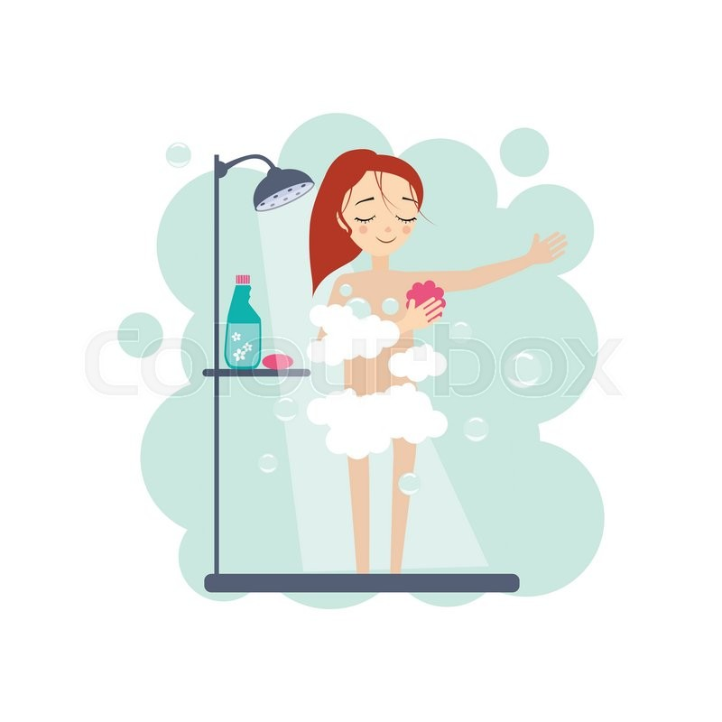 800x800 Taking A Shower. Daily Routine Activities Of Women. Colourful