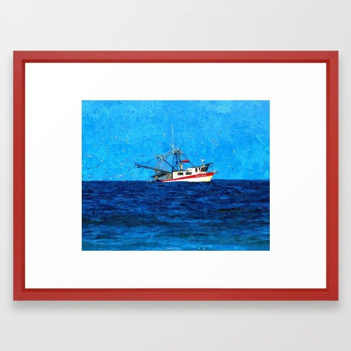 700x700 Shrimp Boat Framed Art Print By Jencapo Society6
