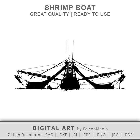 570x570 Shrimp Boat Svg Shrimp Boat Silhouette Boat Svg Etsy