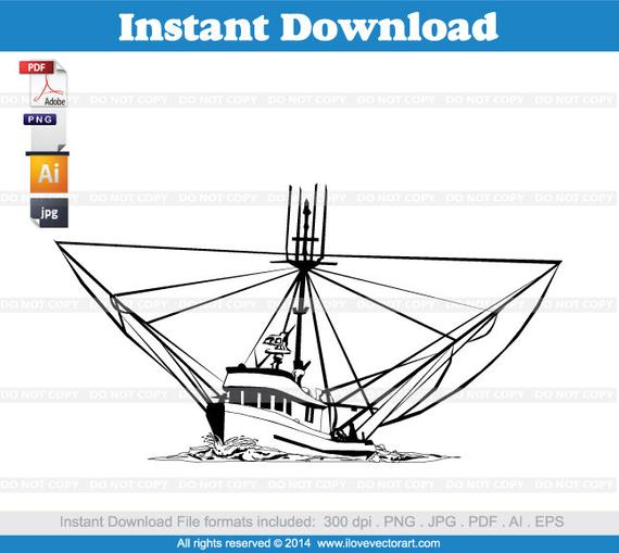 570x509 Shrimp Boat Clipart Commercial Free Use Vector Graphics Etsy