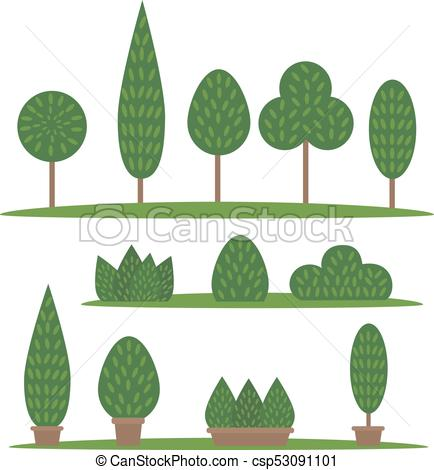 434x470 Garden And Park Set. Cartoon Trees And Bushes. Set Of Garden And
