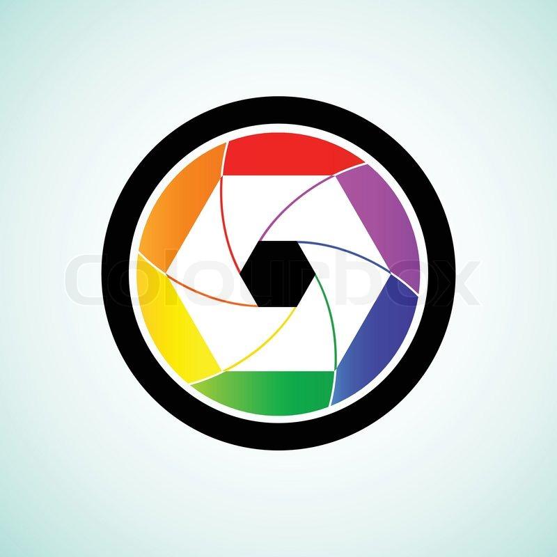 800x800 Colorful Camera Shutter Lens, Vector Illustration Stock Vector