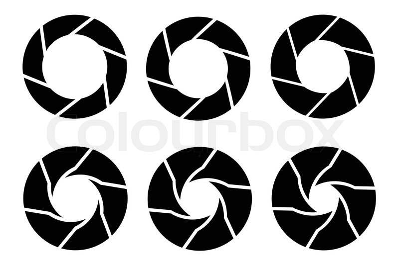 800x533 Vector Black Camera Shutter Icons Set On White Background Stock