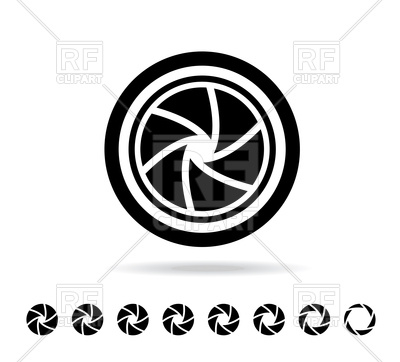 400x362 Camera Shutter In Flat Style Vector Image Vector Artwork Of
