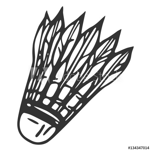 500x500 Hand Drawn Feather Shuttlecock, Vector Illustration