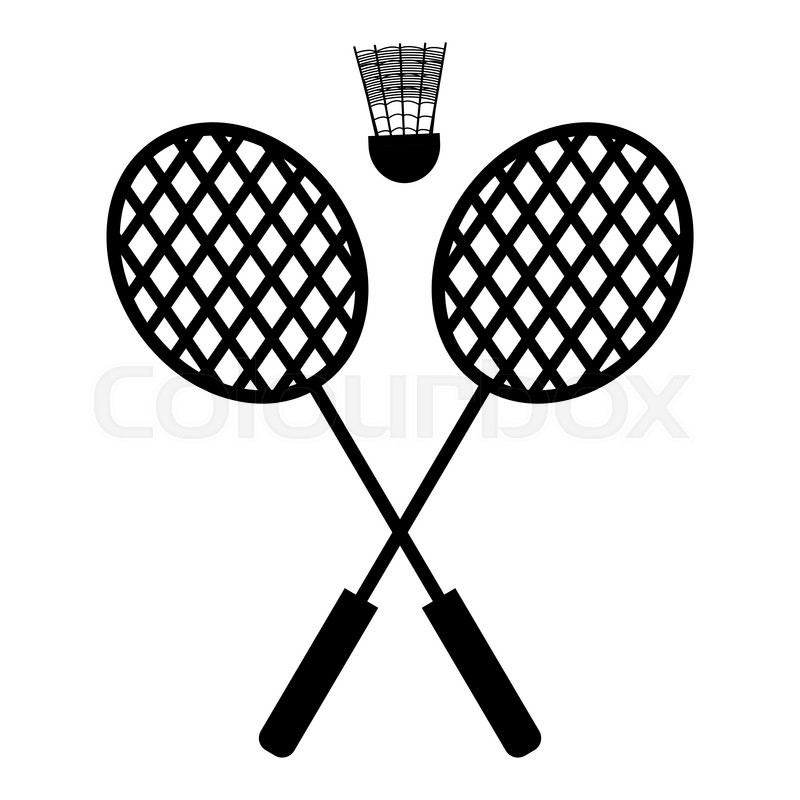 800x800 Playing Badminton Racket And Shuttlecock Silhouettes On A White