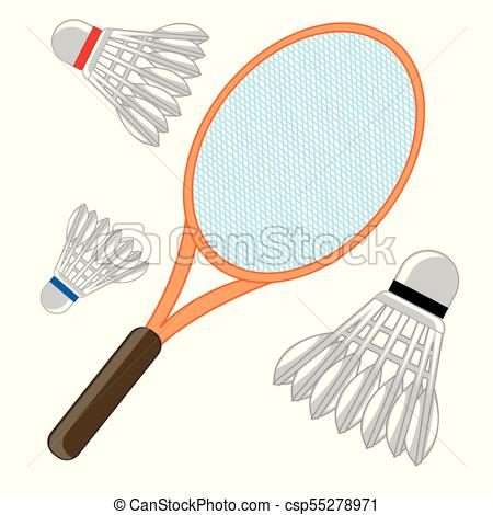 450x470 Tennis Racket And Shuttlecock. Racket And Shuttlecock For Game Of