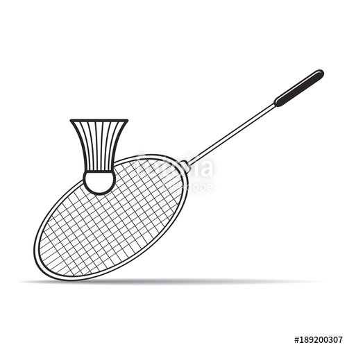 500x500 Isolated Badminton Racket And Shuttlecock Vector Drawing Stock