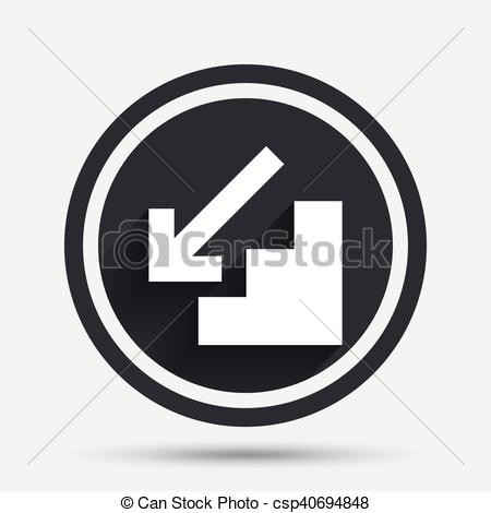 450x470 Downstairs Icon. Down Arrow Sign. Circle Flat Button With Shadow
